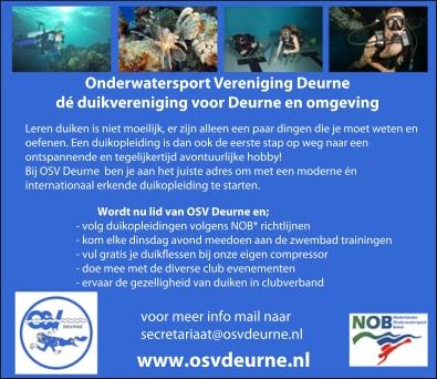 OSV Deurne: duikopleidingen NOB zwembadtrainingen duikflessen evenementen duiken club